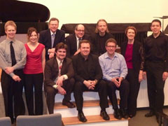 From left, back row: cellist Brad Ritchie, flutist Christina Smith, judges Dennis Hanthorn, Robert Spano and Michael Gandolfi, pianist Paula Peace and clarinetist Alcides Rodriguez. Seated: composers Patrick Greene, Piotr Szewczyk and John Elmquist.